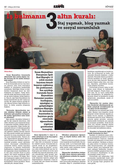 Hürriyet Gazetesi Kampüs Eki Röportajı