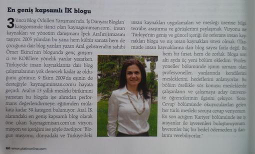 Kaynağım İnsan Platin Dergisi'nde